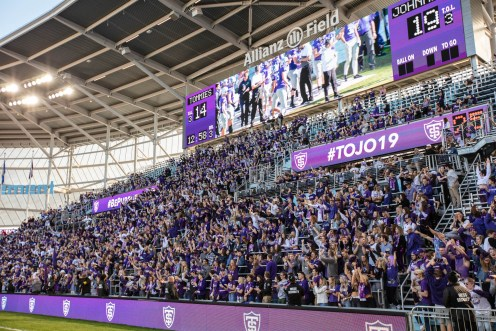 A sea of purple filled the stands at Allianz Field.