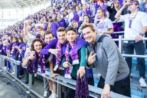 Students were all smiles as they enjoyed being at Allianz Field for Tommie-Johnnie.