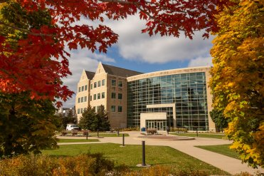 The School of Law building on a beautiful fall day. Mark Brown/University of St. Thomas