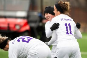 The women's soccer team takes on Bethel during the MIAC semifinals. Liam Doyle/University of St. Thomas