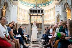 Students in the University of St. Thomas' College of Arts and Sciences study abroad program in Rome, Italy go on a tour of the San Clemente Basilica, guided by UST alumni Fr. Austin Dominic Litke, O.P. Liam James Doyle/University of St. Thomas