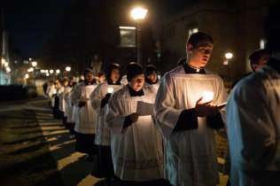 Seminarians particiapte in the Borromeo Weekend procession. Liam James Doyle/University of St. Thomas