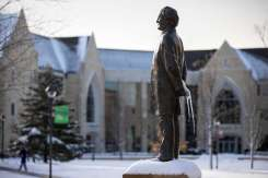 An icicle hangs from the John Ireland Statue. Liam James Doyle/University of St. Thomas