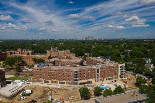 Tommie North Residence Hall nears completion on North Campus on July 29, 2020. Mark Brown/University of St. Thomas