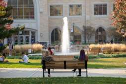 Students hang out on the lower quad on a beautiful fall afternoon during Homecoming week. Mark Brown/University of St. Thomas