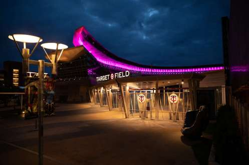 Target Field is lit in purple in celebration of the St. Thomas graduating class of 2020. Mark Brown/University of St. Thomas