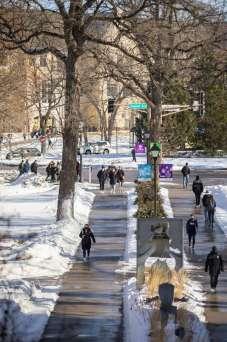 Students walk across Sabo Plaza on south campus. Liam James Doyle/University of St. Thomas