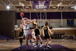 Brynne Rolland drives to the basket during a women's basketball game against Gustavus Adolphus College on March 3, 2021 in Schoenecker Arena in St. Paul. The Tommie's won the game by a final score of 77-64. Mark Brown/University of St. Thomas