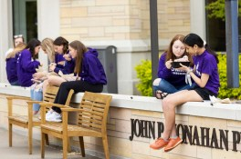 Students hang out on Monahan Plaza during Tommie Fest. Mark Brown/University of St. Thomas