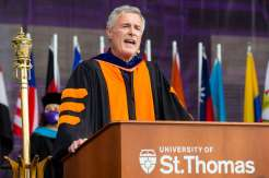 Executive Vice President and Provost Dr. Richard Plumb speaks to students during the graduate commencement ceremony. Liam James Doyle/University of St. Thomas