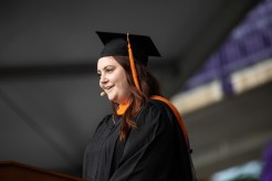 Erin Mortenson gives the student address for the School of Engineering during the commencement ceremony for graduate programs in the Opus College of Business and School of Engineering. Mark Brown/University of St. Thomas