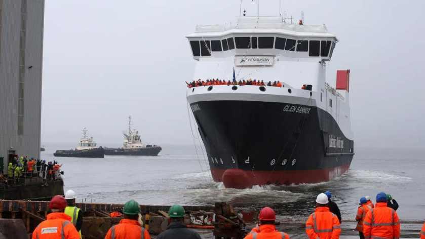 Ferry: Travels down the slipway at Ferguson Marine in Port Glasgow.
