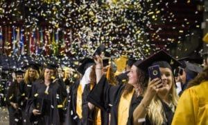 Confetti rains down during the 2018 commencement ceremony