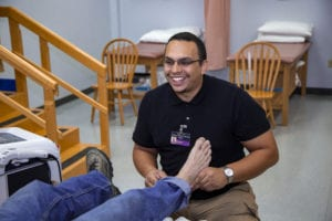 Jesse Greene, SUNY Broome Physical Therapist Assistant student, in the lab
