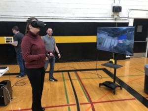 Virtual reality allowed visitors to take a tour of the college's television studio during the Spring 2020 Faculty Staff Assembly.