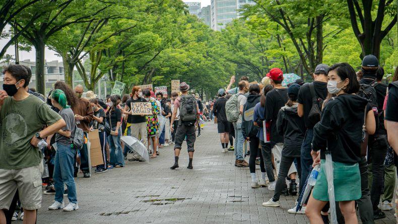 protestors in Tokyo