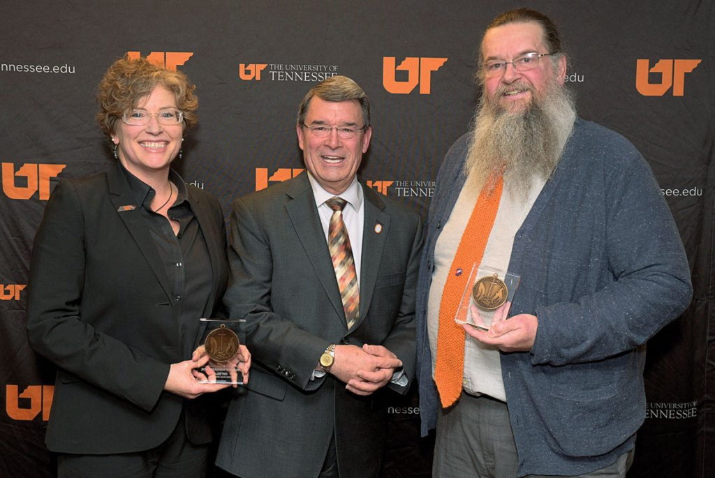 2016 Educate and Connect honorees Julie Ann Hill and David Lee McBeth, with UT Martin Interim Chancellor Bob Smith.