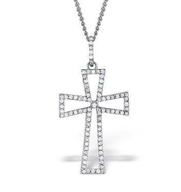 cross pendant necklace silver diamonds