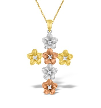 Mixed Gold Diamond Cross Pendant