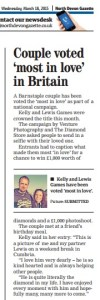 Our winners featured in the North Devon Gazette- TheDiamondStore's BritainsGotLove competition