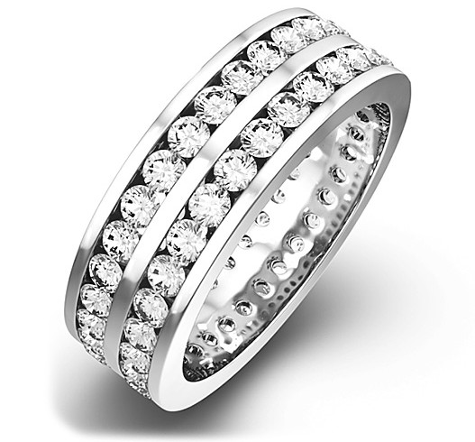 Meaning of Eternity Rings - Mens 2CT H/SI Diamond 18K White Gold Full Band Ring