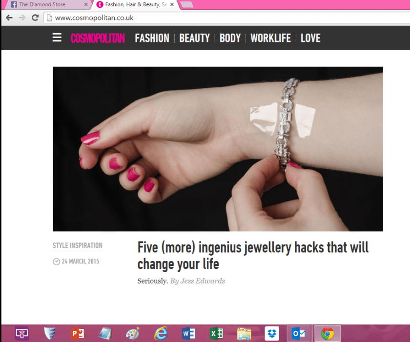 Jewellery Hacks to change your life - Cosmopolitan Magazine by TheDiamondStore.co.uk