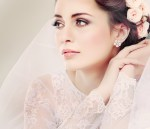 Matching floral earrings to a flowered headpiece creates a beautiful theme