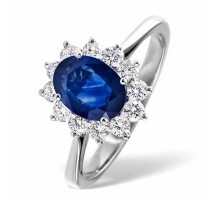 Sapphire 1.55ct And Diamond 0.50ct 18K White Gold Ring Item FET26 UY