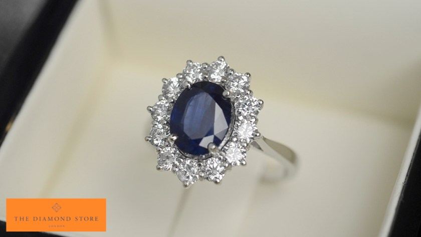 UK hallmarked platinum and sapphire engagement ring from TheDiamondStore.co.uk