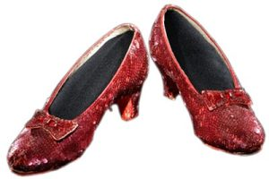 Dorothy's ruby slippers in The Wizard of Oz
