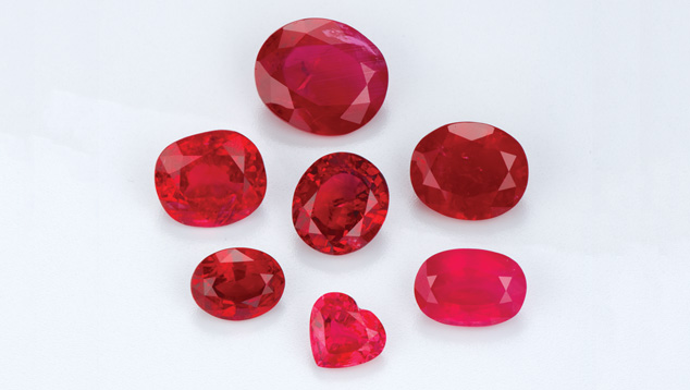 Different shades of red rubies, via Gemological Institute of America (GIA)