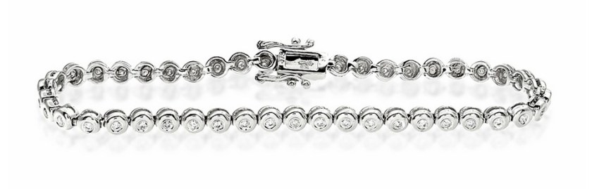 Tennis Bracelet 1.00CT Diamond 9K White Gold Item I3374