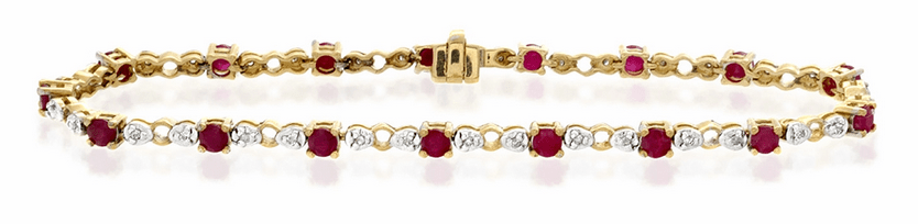 9K Gold Diamond and Ruby Claw Set Link Bracelet Item I3597
