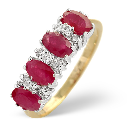 Ruby and diamond 5-stone ring in yellow gold from TheDiamondStore.co.uk