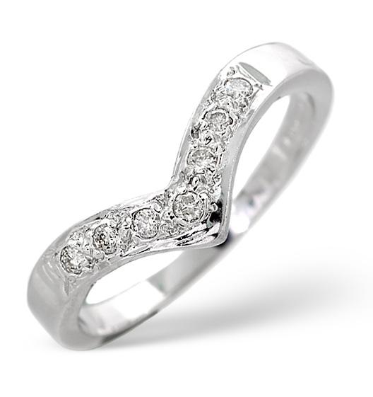 Wishbone wedding ring with diamonds