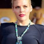 Celebrity wearing blue opal necklace