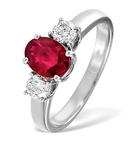 Ruby and diamond 3-stone eternity ring in white gold from TheDiamondStore.co.uk