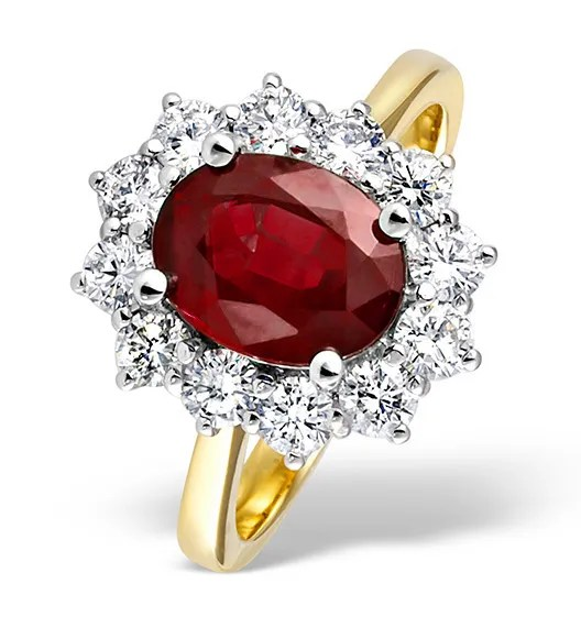 Ruby and diamond ring in yellow gold from TheDiamondStore.co.uk