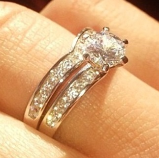 Wishbone shaped wedding ring as featured in Hello magazine