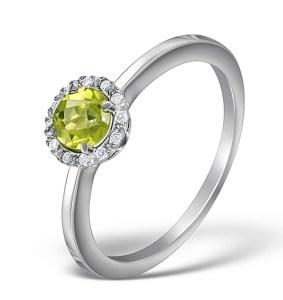 Green peridot engagement ring