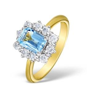 Blue aquamarine engagement ring