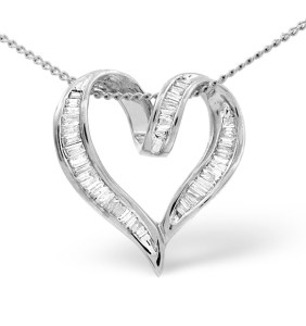 Heart pendant necklace with diamonds and white gold - click to view details