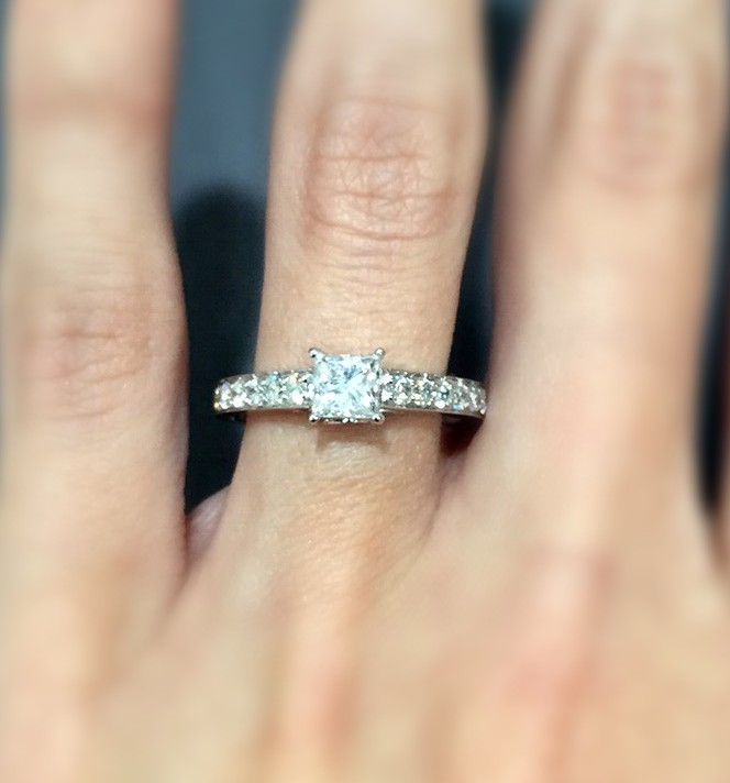 Gorgeous Princess Cut Engagement Ring with Sidestones