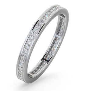 White gold eternity ring with princess cut diamonds - click to view details