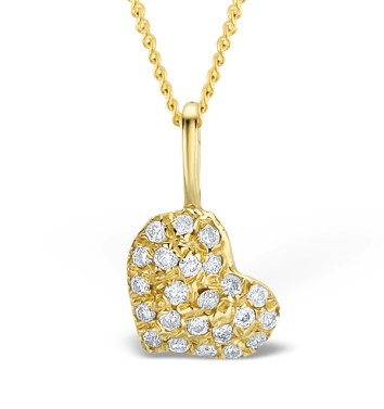 Diamond heart pendant with yellow gold and diamonds
