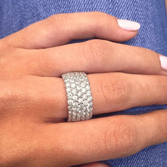 Diamond eternity ring with rows of round brilliant diamonds in platinum from TheDiamondStore UK