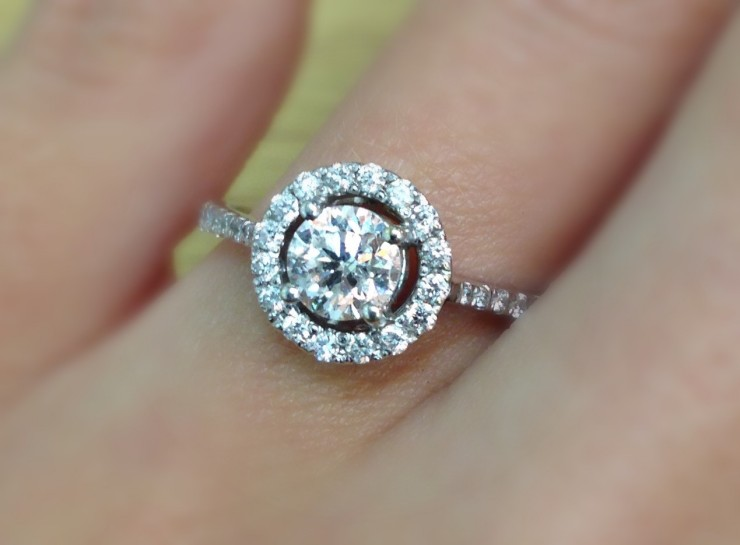 Ella Diamond Halo Engagement Ring 0.86CT from The Diamond Store UK