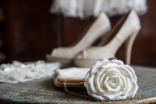 White bridal accessories