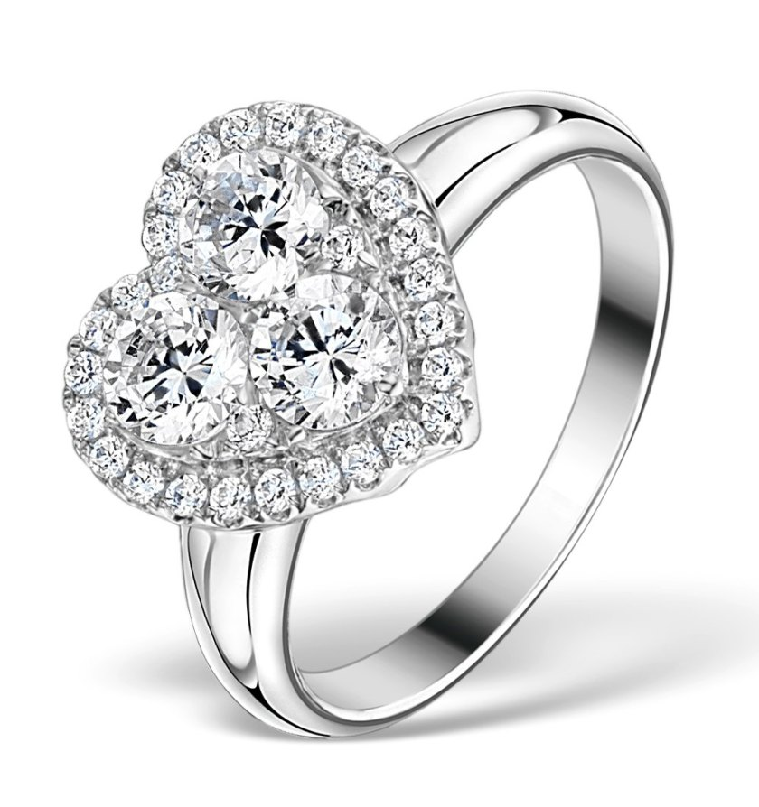 Lady Gaga style diamond heart engagement ring, also seen on Nicky Minaj, Jesy Nelson and Joanne Mas