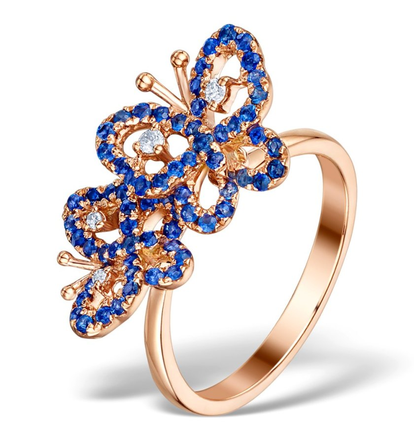 Vintage Vivara Collection Sapphire and Diamond 9K Rose Gold Butterfly Ring Edwardian influenced